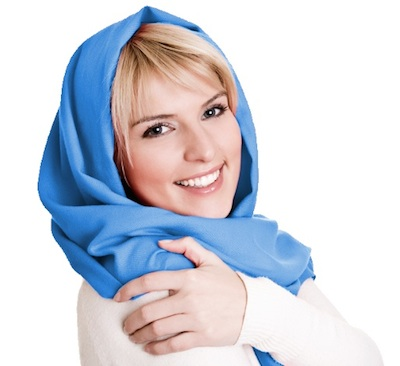 Young woman with a scarf.